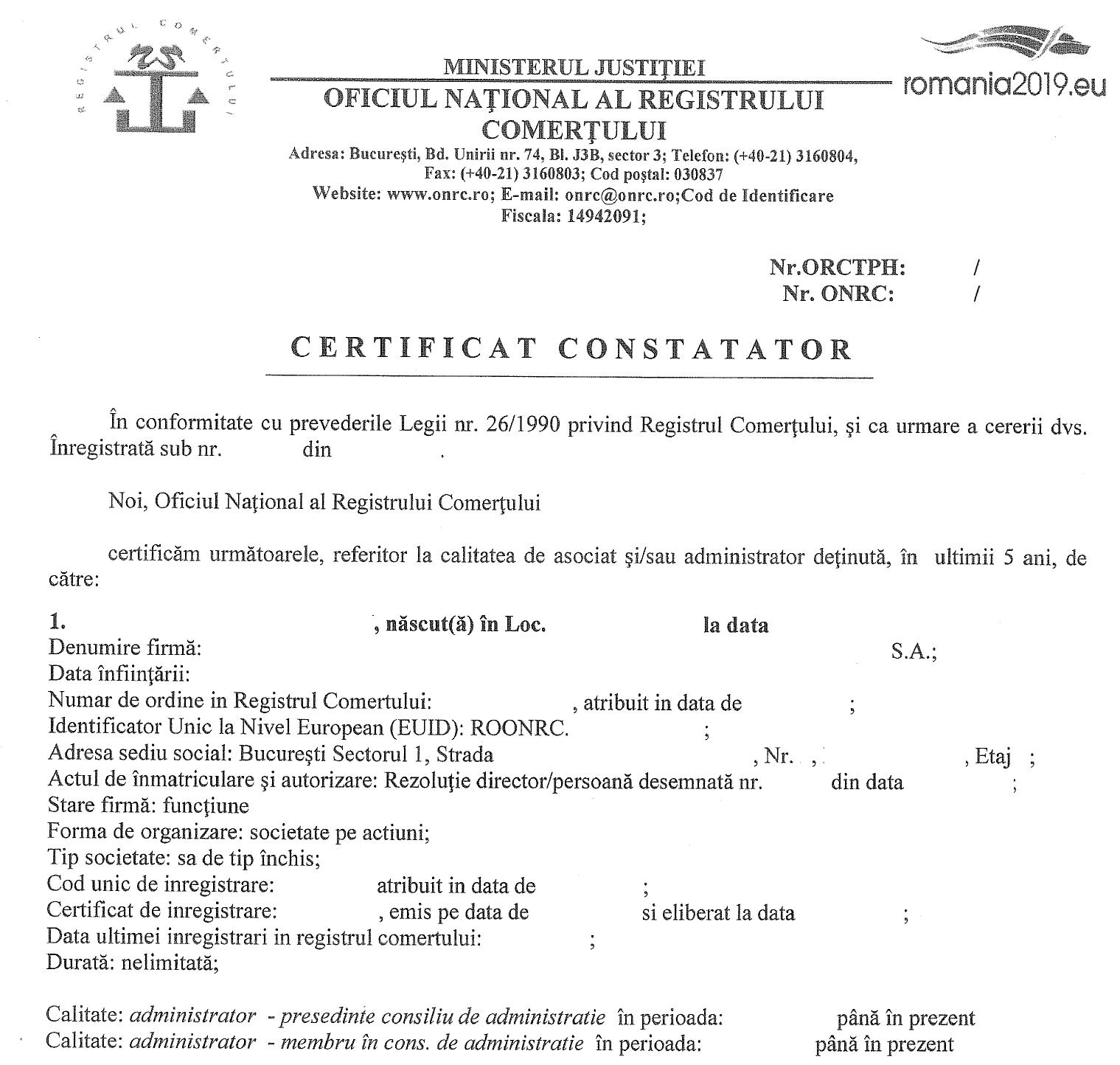 certificat constatator pentru persoana